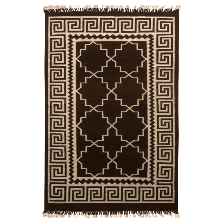 Contemporary Flat-Weave Rug Brown and Beige Transitional Kilim Rug For Sale
