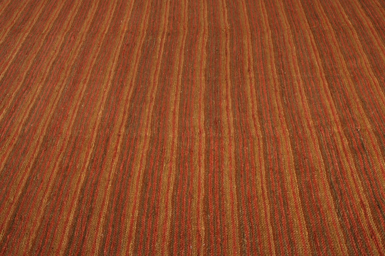 Indian Contemporary Flat-Weave Striped Orange Brown Pattern by Rug & Kilim For Sale