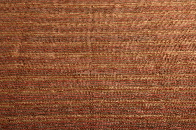 Hand-Woven Contemporary Flat-Weave Striped Orange Brown Pattern by Rug & Kilim For Sale