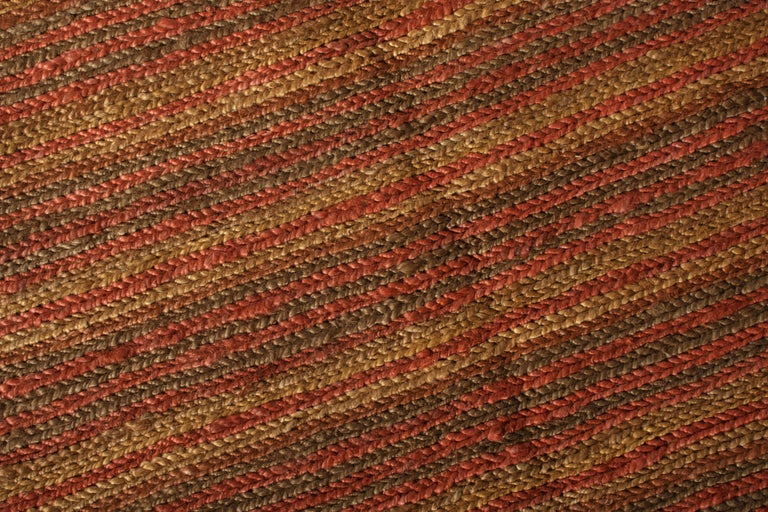 Contemporary Flat-Weave Striped Orange Brown Pattern by Rug & Kilim In New Condition For Sale In Long Island City, NY