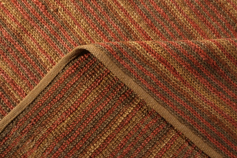 Wool Contemporary Flat-Weave Striped Orange Brown Pattern by Rug & Kilim For Sale
