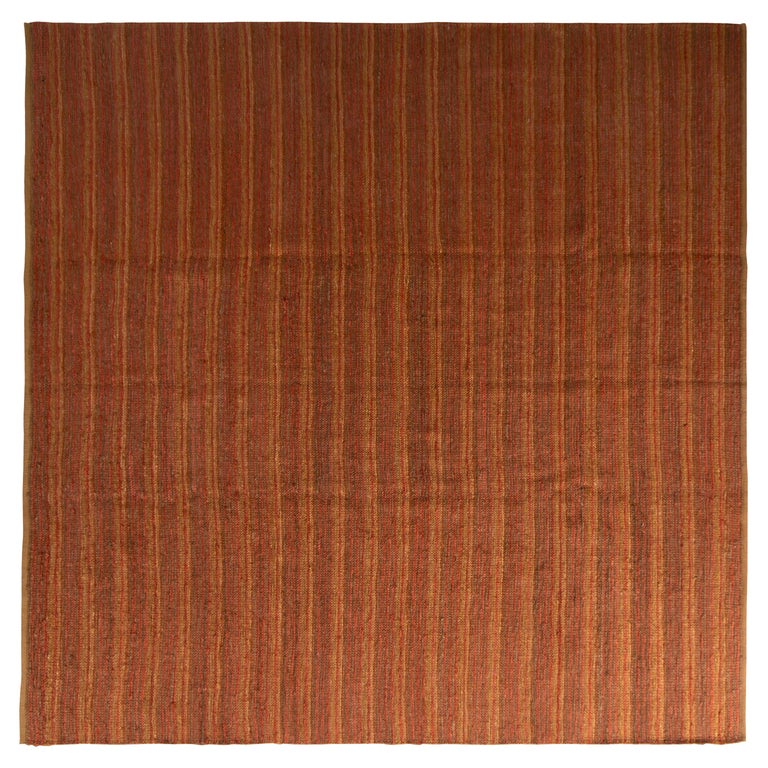 Contemporary Flat-Weave Striped Orange Brown Pattern by Rug & Kilim For Sale