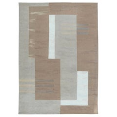 Contemporary Flat-Weave Wool Beige and White Geometric Rug