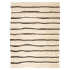 Contemporary Flat-Weave Wool Kilim Black and Beige Handmade Rug