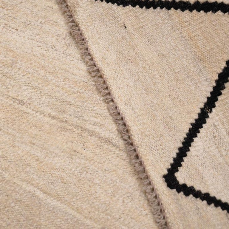 Contemporary Flat-Wave Wool Kilim Beige and Black Color For Sale 6