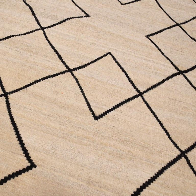 Contemporary Flat-Wave Wool Kilim Beige and Black Color For Sale 8
