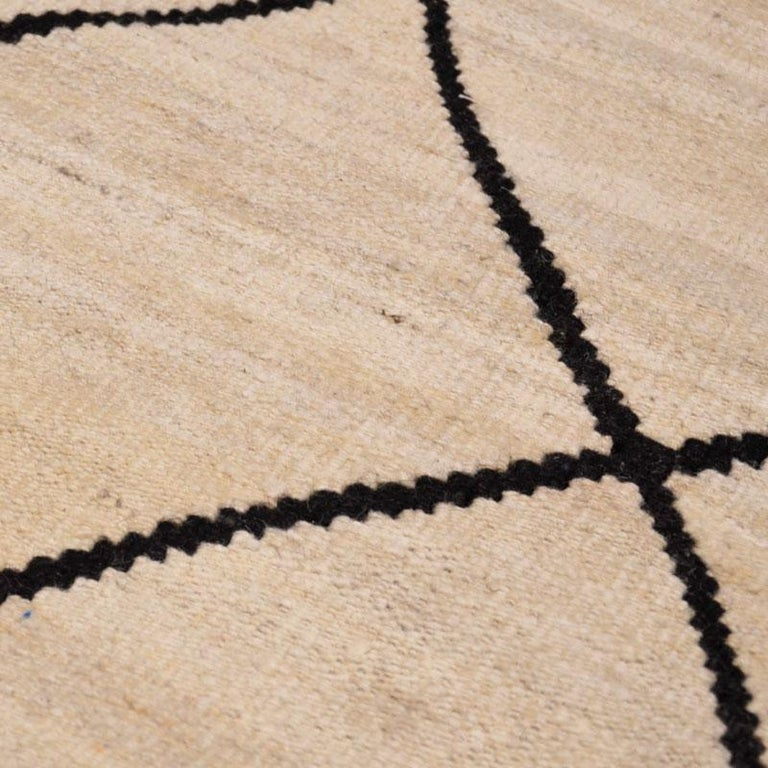 Contemporary Flat-Wave Wool Kilim Beige and Black Color For Sale 9