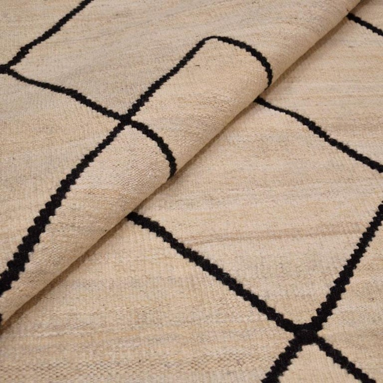 Contemporary Flat-Wave Wool Kilim Beige and Black Color For Sale 10