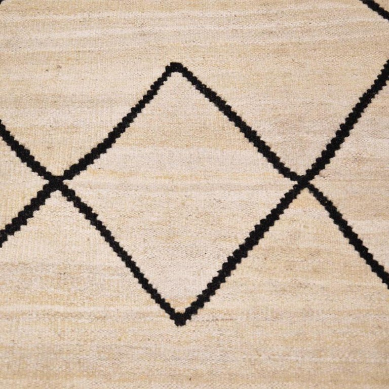 Contemporary Flat-Wave Wool Kilim Beige and Black Color For Sale 1