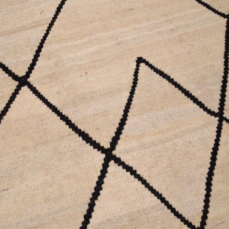Contemporary Flat-Wave Wool Kilim Beige and Black Color For Sale 2
