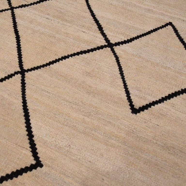 Contemporary Flat-Wave Wool Kilim Beige and Black Color For Sale 4