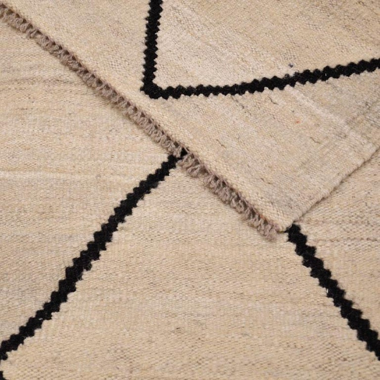Contemporary Flat-Wave Wool Kilim Beige and Black Color For Sale 5