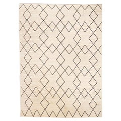 Contemporary Flat-Wave Wool Kilim Beige and Black Color