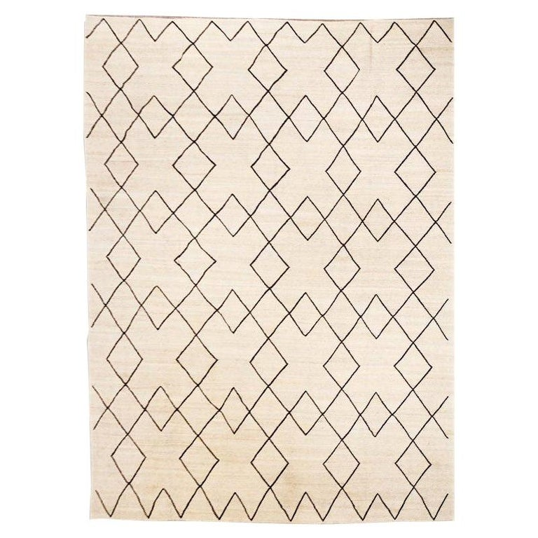 Contemporary Flat-Wave Wool Kilim Beige and Black Color For Sale
