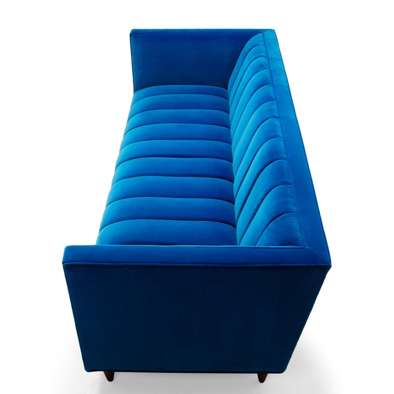 Famechon Sofa With Channeled Back And Seat Walnut Legs: Contemporary Channeled Fleure Sofa In Teal Blue Velvet