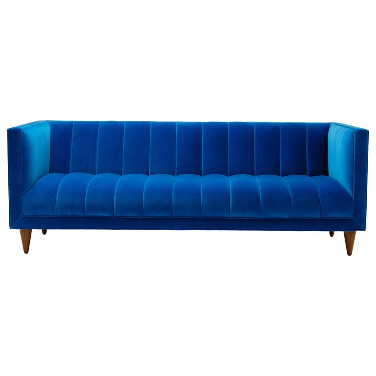 Magnificent Contemporary Channeled Fleure Sofa In Teal Blue Velvet With Walnut Legs Theyellowbook Wood Chair Design Ideas Theyellowbookinfo