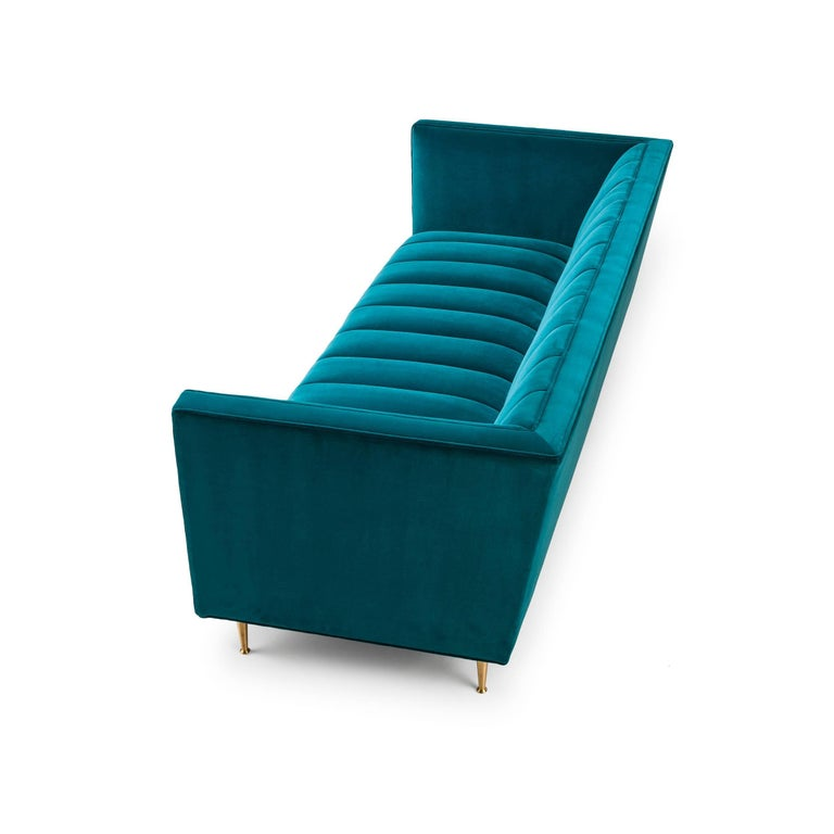 Famechon Sofa With Channeled Back And Seat Walnut Legs: Contemporary Fleure Sofa In Kingfisher Green Velvet With