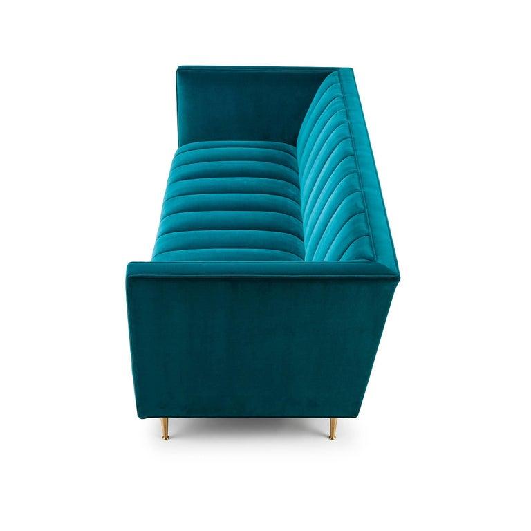 Modern Contemporary Fleure Sofa in Kingfisher Green Velvet with Brass, Oak, Walnut Legs For Sale