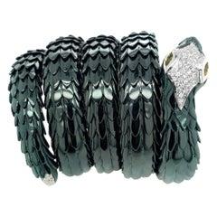 Contemporary Flexible 18 Karat Gold Snake Bracelet with Diamond and Citrine Eye