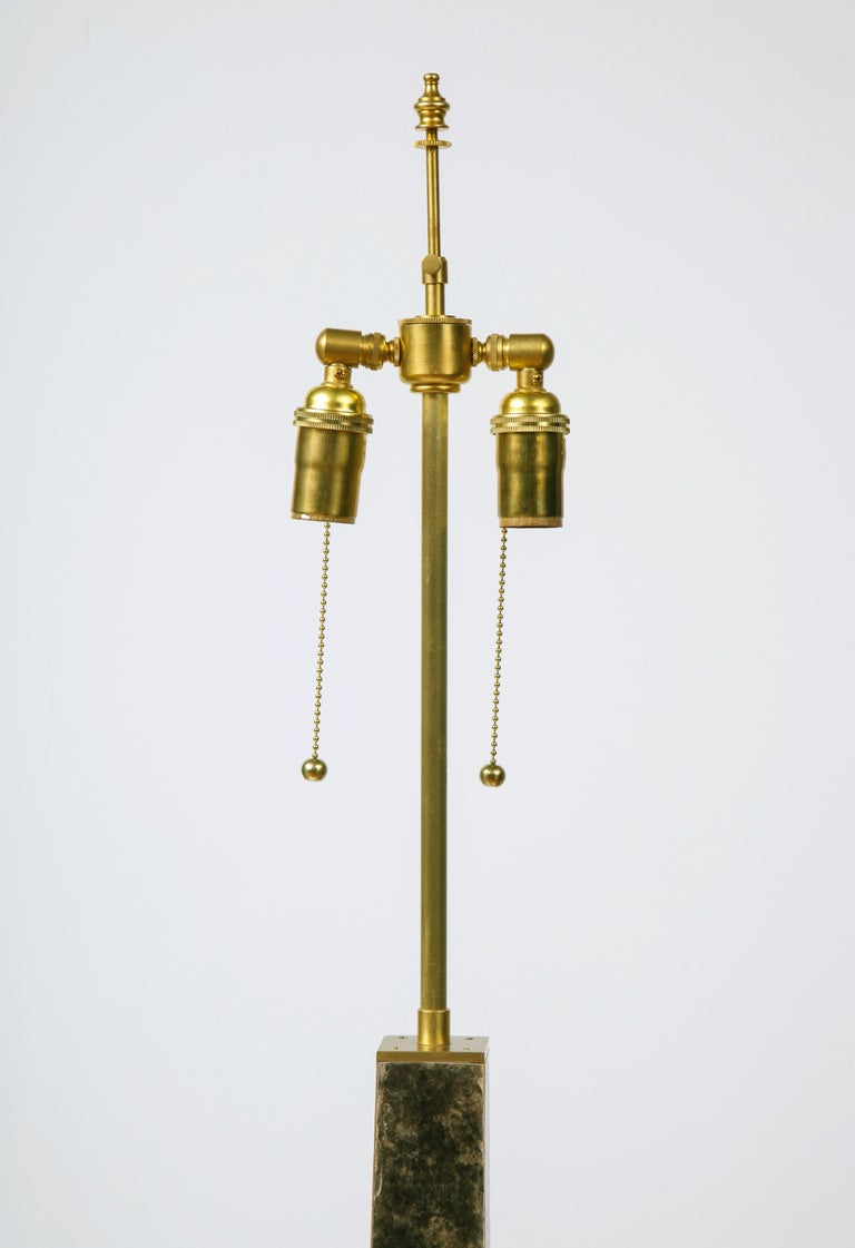 Contemporary Modernist series Floor Lamp in Mica and Brass For Sale