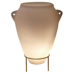 Contemporary Floor Lamp in Milky Resin and Brass