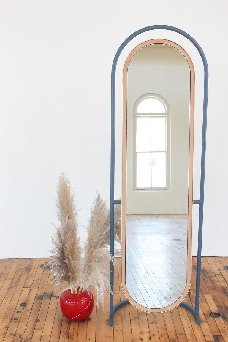 Modern Contemporary Floor Mirror, Curved Frame Full-Length