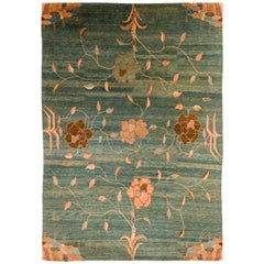 Contemporary Floral Area Rug in Wool by Carini