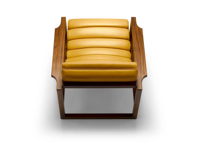 English Contemporary Florence Easy Chair in Walnut and Leather For Sale