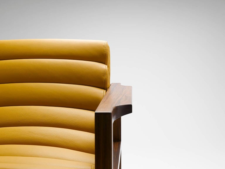 Hand-Crafted Contemporary Florence Easy Chair in Walnut and Leather For Sale