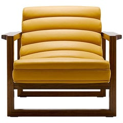 Contemporary Fluted Florence Easy Chair in Yellow Leather and Oiled Walnut Frame