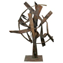 Contemporary Forged Copper Abstract Table Sculpture Signed Robert Hansen, 2016