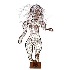 Contemporary Forged Copper Wire Nude Woman Female Figure Table Sculpture, 2000s