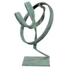 Contemporary Forged Painted Copper Abstract Table Sculpture By Robert Hansen