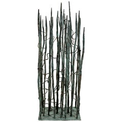 Contemporary Forged Painted Copper Bertoia Style Reed Sculpture Signed Hansen