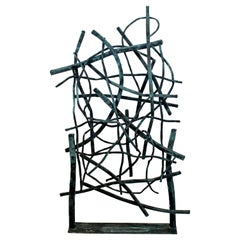 Contemporary Forged Painted Copper Metal Abstract Table Sculpture Robert Hansen