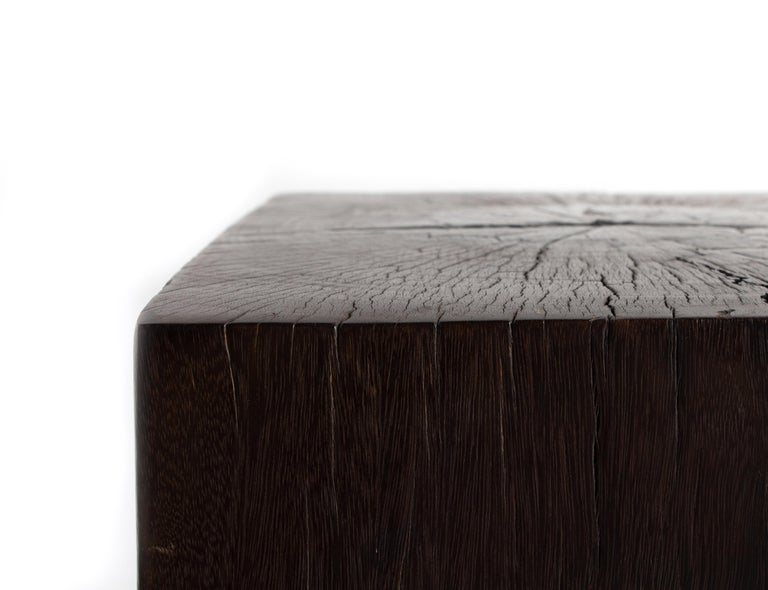 Contemporary Form Ebonized Block Teak End Table In Good Condition For Sale In Dallas, TX