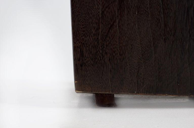 Contemporary Form Ebonized Block Teak End Table For Sale 1