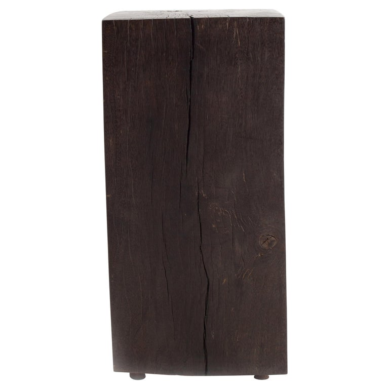 Contemporary Form Ebonized Block Teak End Table For Sale