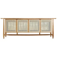 Contemporary Four Door Sideboard Buffet in Natural Rattan