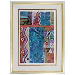Contemporary Framed Abstract Mixed-Media Painting Signed Patricia Beatty, 1990s