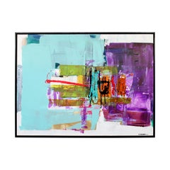 Contemporary Framed Acrylic Mixed-Media Art Painting on Canvas by Moshe Leider