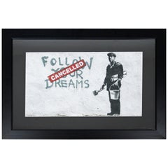 Contemporary Framed Banksy Offset Litho Follow your Dreams-Cancelled Graffiti