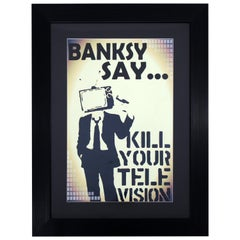 Contemporary Framed Banksy Offset Lithograph Kill Your Television Graffiti Art