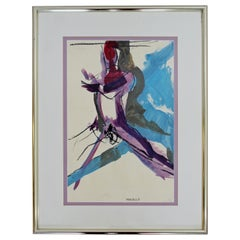 Contemporary Framed Chalk Acrylic Painting Signed Martha Nessler Hayden, 1990s