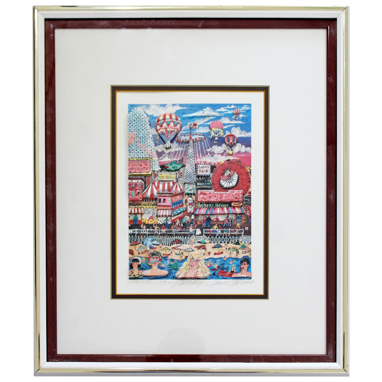 Contemporary Framed Coney Baloney 3D Serigraph Signed Charles Fazzino 179/475