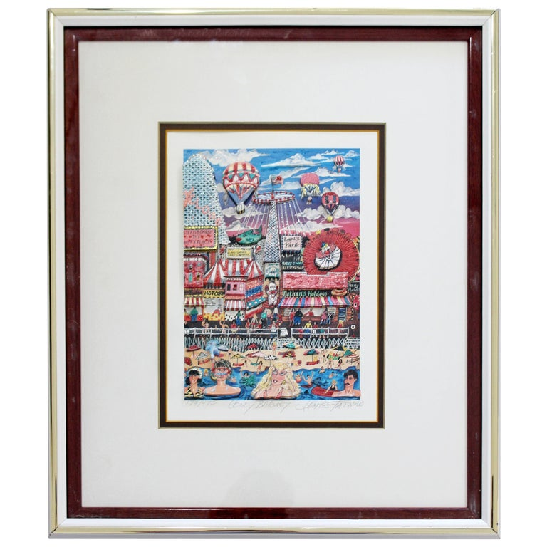 Contemporary Framed Coney Baloney 3D Serigraph Signed Charles Fazzino 179/475 For Sale