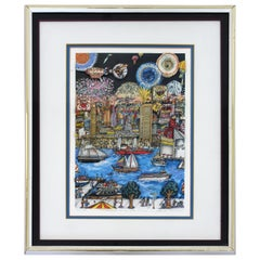 Contemporary Framed Fireworks 3D Serigraph Signed Charles Fazzino 43/475 w COA