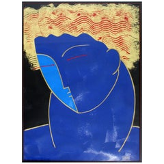 Contemporary Framed Fred Stepanian Signed Textured Raised Apollo Serigraph 1980s
