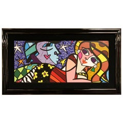 Contemporary Framed Hand Embellished on Canvas Litho Sweet Talk Britto 2011