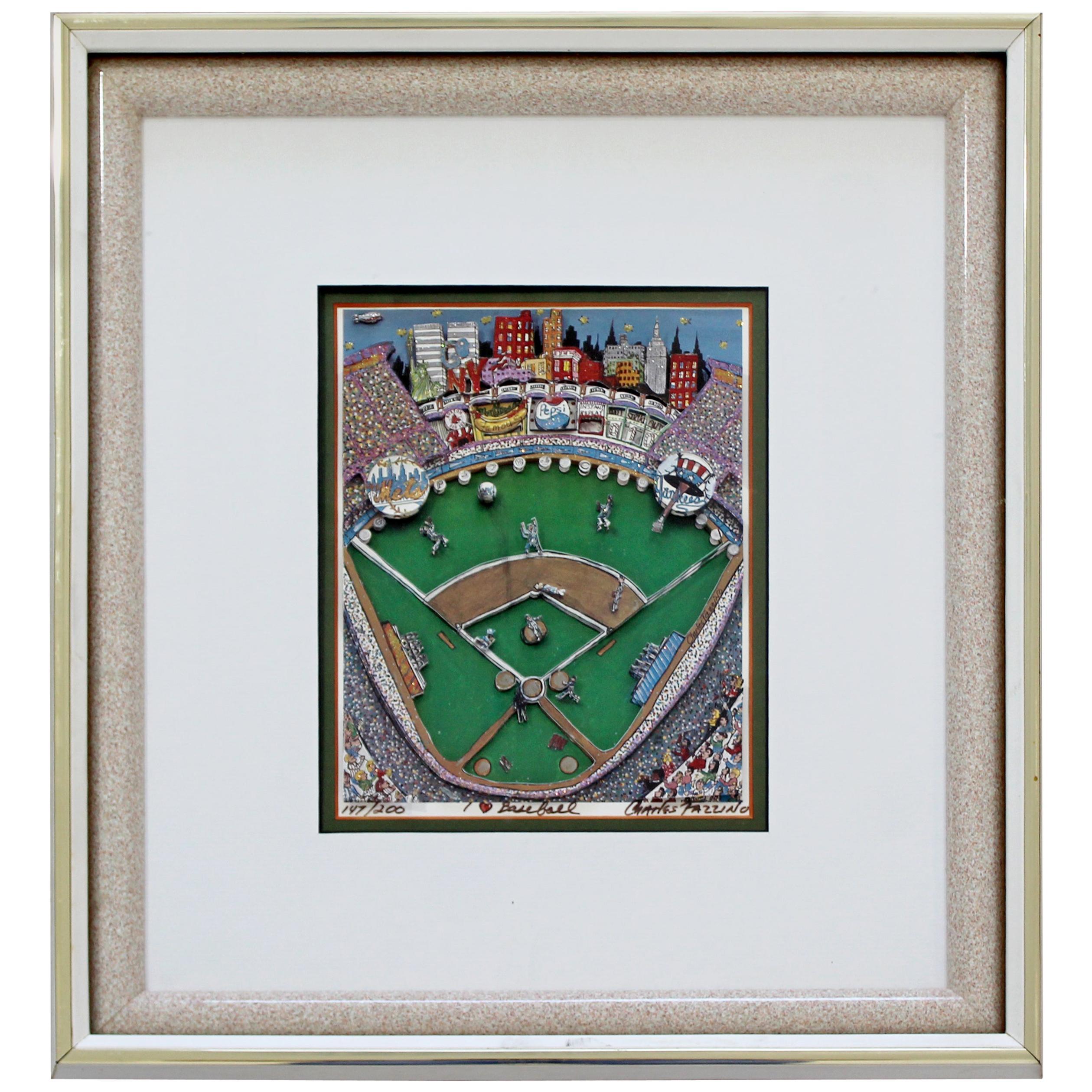 Contemporary Framed I Heart Baseball 3D Serigraph Signed Charles Fazzino 147/200